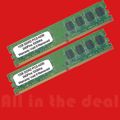 New 2GB Kit 2x 1GB 533MHz DDR2 PC-4200 Desktop Memory RAM Non ECC 240 pin 533 2G