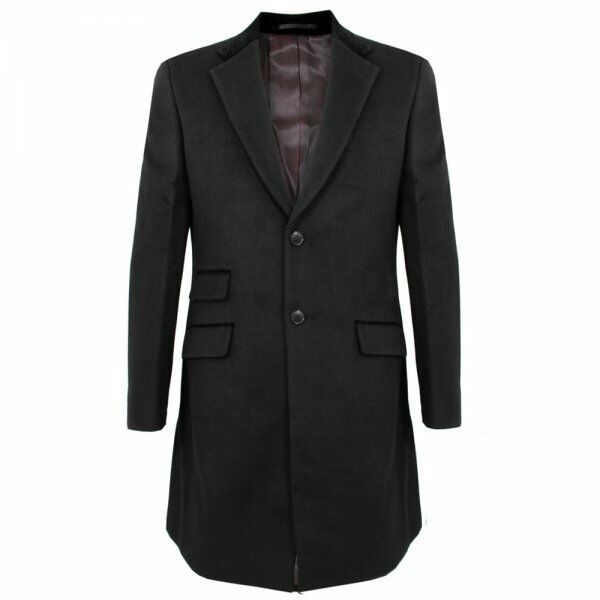 MERC LONDON LORD JOHN II CAPPOTTO LUNGO NERO 36 38 40 42 44 SLIM TAILORED FIT