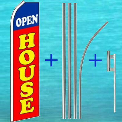 Open House Flutter Flag Pole Mount Kit Tall Real Estate Feather Swooper Banner