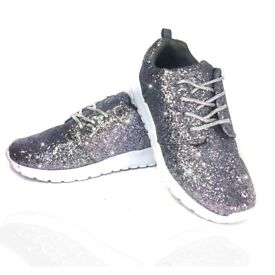 ladies trainers, lemondae brand, new not worn, size 5,38.silver glitter