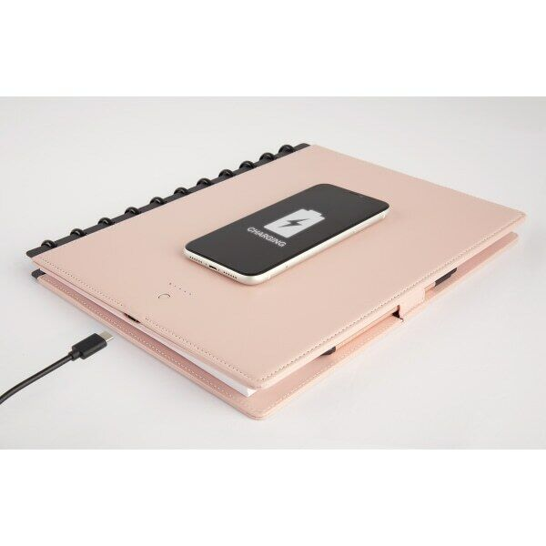 """TUL Wireless Charging Notebook, Leather Cover, 8-1/2"""" x 11"""", Blush"""