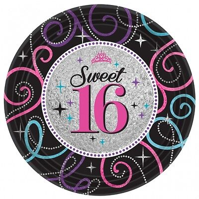 SWEET 16 BIRTHDAY PARTY PACK OF 8 LICENSED PLATES FREE 1ST CLASS DELIVERY