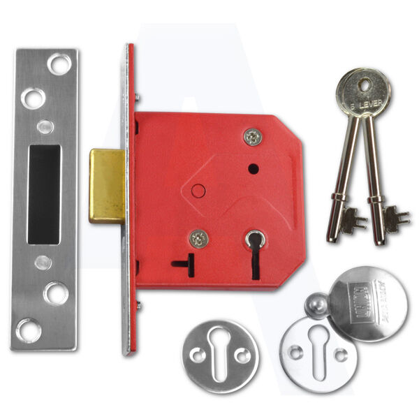 """Union 2101 5 Lever Mortice Door Deadlock 64mm/2.5"""" Satin Chrome Keyed To Diffe"""