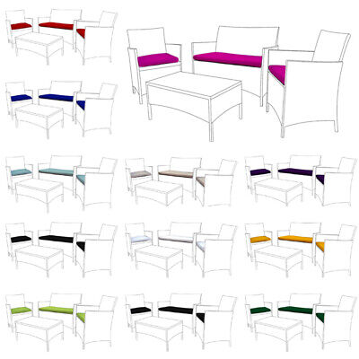 Garden Furniture - Replacement 3pc Cushions Set to fit Rattan Garden Furniture Chairs Sofa Patio