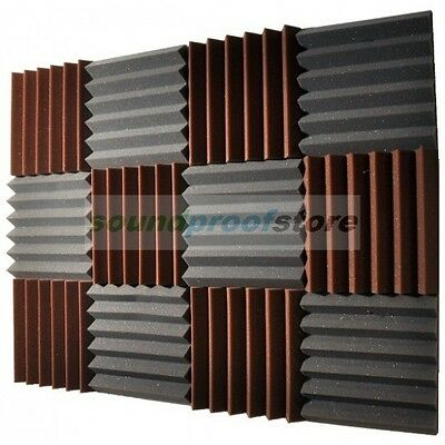 2x12x12 (12 Pack) BROWN/CHARCOAL Acoustic Wedge Soundproofing Studio Foam Tiles