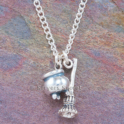 925 Sterling Silver 3D CAULDRON & BROOM charm Witch Pendant Necklace