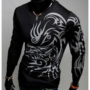 New Mens Slim Fit Dragon Tattoo Printed T-shirt Casual Long Sleeve Tees US S M L