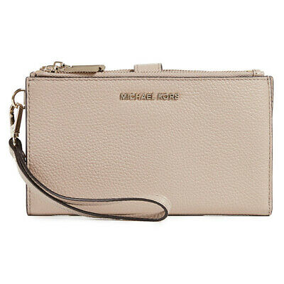 Michael Kors Adele Double Zip Leather Smartphone Wallet Wristlet Purse Truffle