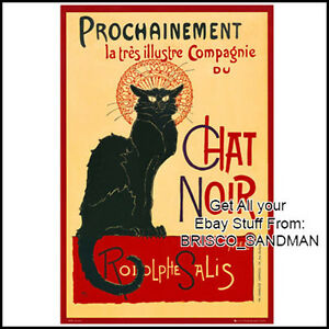 Fridge-Fun-Refrigerator-Magnet-LE-CHAT-NOIR-BLACK-CAT-POSTER-ART-French