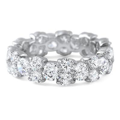 Fancy Cubic Zirconia Sterling Silver Fashion Ring Eternity Band for Women Fancy Eternity Band