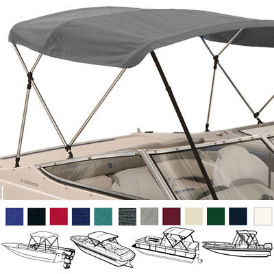 Deluxe Boat Pontoon Bimini Top with Boot / Rear Support Poles / 3 Bow / 4 Bow ()