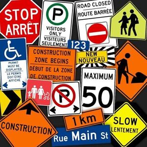 Traffic signs, parking lot signs, sign installations