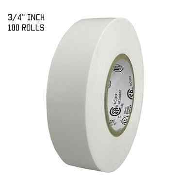 TapesSupply 100 ROLLS WHITE ELECTRICAL TAPE 3/4