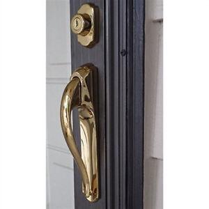 Storm door pull handle lock set in bright brass 3 4 inch for Front door handle 7 5 inches