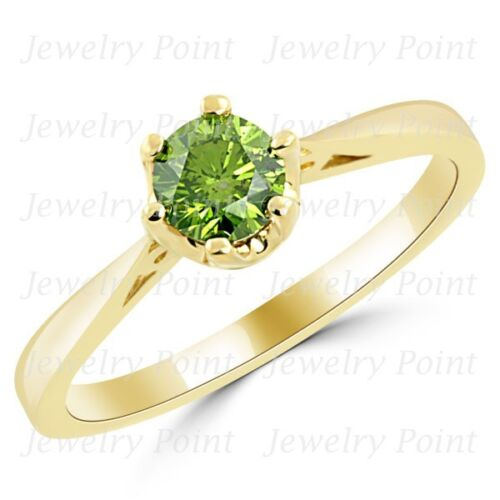 0.50ct Fancy Green Diamond Engagement Solitaire Bridal Ring 14k Yellow Gold
