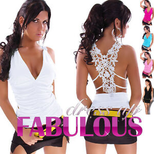 NEW-SEXY-WOMENS-LACE-TOPS-Size-8-10-CLUBBING-EVENING-LADIES-PARTY-CASUAL-WEAR