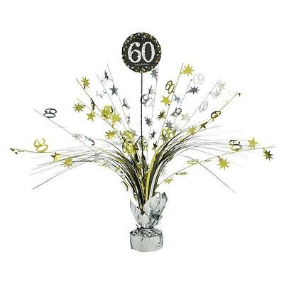 60th Birthday Table Centerpieces (Gold 60th Birthday Table Decoration Centrepiece Spray Cascade Weighted)