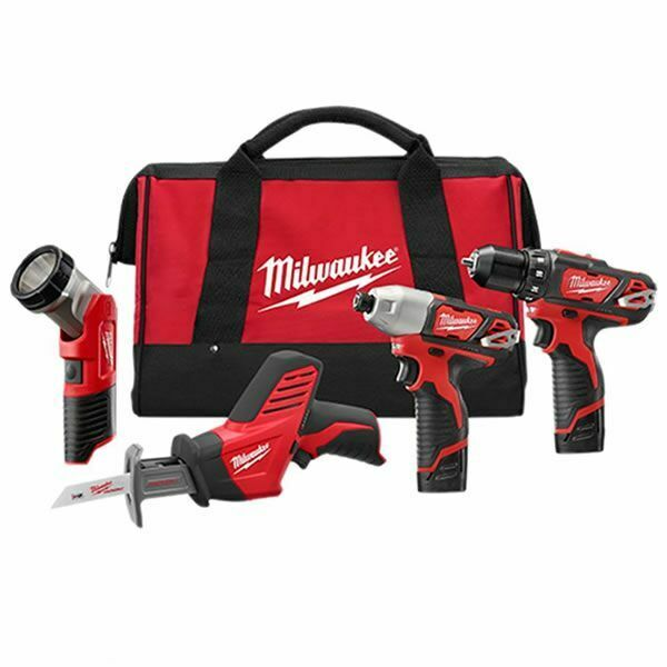 Milwaukee Electric 2498-24 M12 M12 4-Tool Combo Ac/Dc Charge