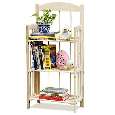 Foldable 3-Tier Wooden Display Bookshelf Bookcase Shelves Storage Units Natural