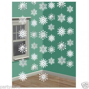 6-7FT-LONG-SHIMMERING-SNOWFLAKE-STRINGS-CHRISTMAS-DECORATION-DISNEY-FROZEN-PARTY