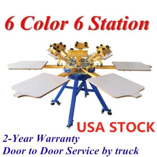 US STOCK 6 Color 6 Station Silk Screen Printing Machine Carousel Press Equipment