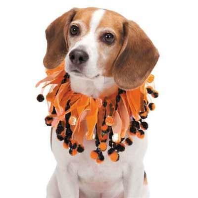 Aria Pompom Halloween Scrunchie Dog Pet Party Scrunchy Neck COLLAR Pumpkin S M L