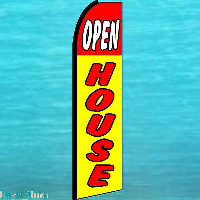 Open House Flutter Flag King Size Feather Swooper Tall Advertising Banner Sign
