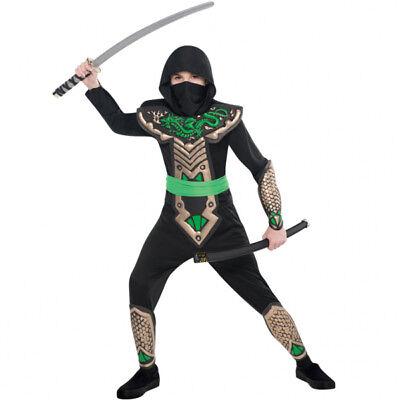 Jungen Halloween-kostüme (Karneval Kostüm Jungen Gr. 110 128 134 Halloween Ninja Drache grün Kinder)