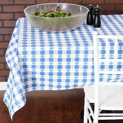 25 YARD Roll Blue White Checkered Vinyl Table Cloth Cover Restaurant - Checkered Tablecloth Roll
