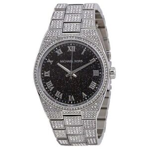 $650 Michael Kors Women Channing Dial Crystal Pave Silver MK6089