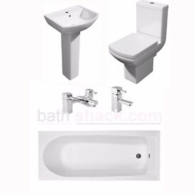Straight 1700mm bath package inc toilet basin , taps and wastes all for £345