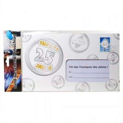 Riesen Umschlag 25 Jahre Silberhochzeit für Geldgeschenke Party Deko Hochzeit (4
