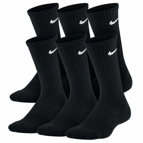 NIKE 6-Pack Boys Girls Kids Youth CREW socks 5Y-7Y BLACK Dri-Fit  Wick Cushione