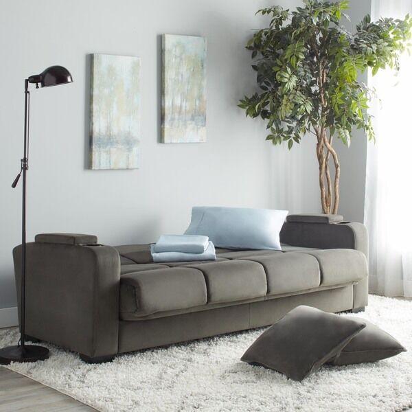 portfolio tevin gray velvet convert-a-couch storage arm futon sofa