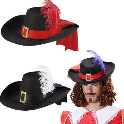 Musketierhut schwarz Musketier Hut Edelmann Pirat Gestiefelter Kater - Pirat Kostüm Mann