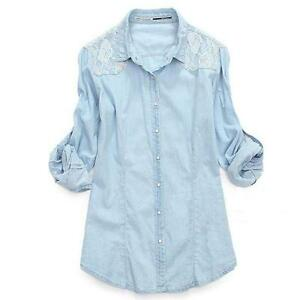 Womens denim shirts ebay for Blue denim shirt for womens
