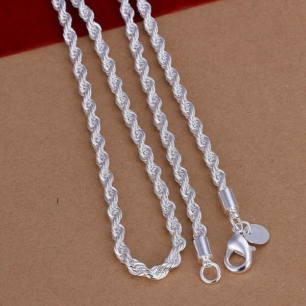 Necklace - 925 Sterling Silver Lovely Flash Wrest Rope Chain 4mm Necklace 18,20,22, 24 inch