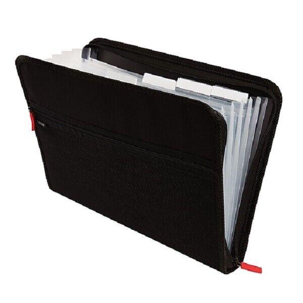 Staples 7-Pocket Expanding Zip Fabric Padfolio Black