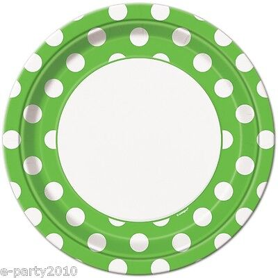 GREEN POLKA DOT LARGE PAPER PLATES (8) ~ Birthday Party Supplies Dinner Luncheon](Green Polka Dot Paper Plates)