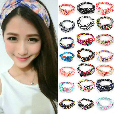 Fashion Girl Women Yoga Elastic Turban Floral Twisted Knotted Hair Band Headband