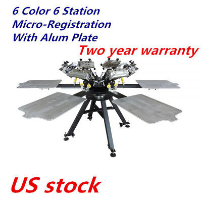 Micro-registration 6 Color 6 Station T-shirt Silk Screen Printing Press Machine