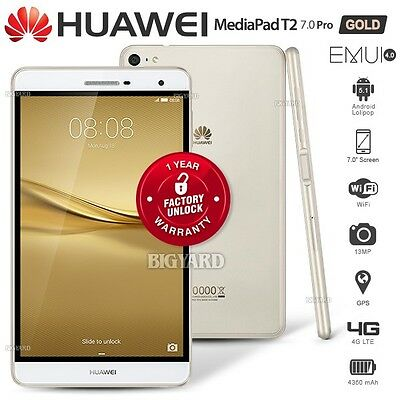 """New Unlocked HUAWEI MediaPad T2 Pro Gold 7"""" LTPS 4G Android Cell Phone PC Tablet"""
