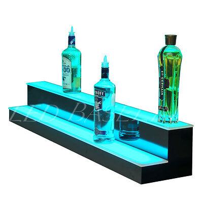 64 Lighted Art Glass Shelving Display For Liquor Bottles Bar Or Home 2 Step