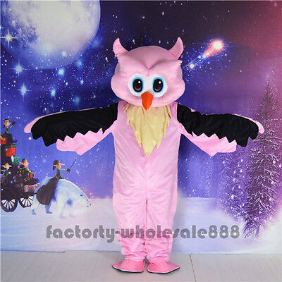 Big Pink Owl Mascot Costume Animal Adults Party Fancy Dress Halloween Parade NEW