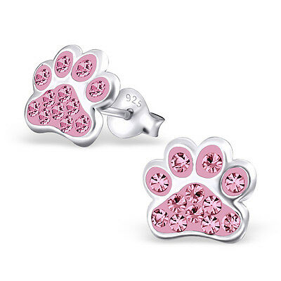 Paw Print Light Rose Pink Crystal .925 Sterling Silver Stud Post Earrings