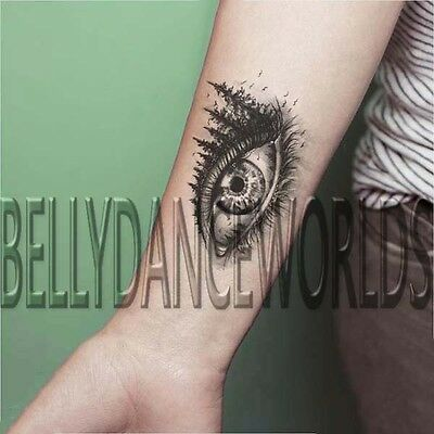 LARGE REALISTIC EYE WITH TREE AND BIRD TEMPORARY TATTOO INNER FOREARM STICKER](Tattoos With Birds)