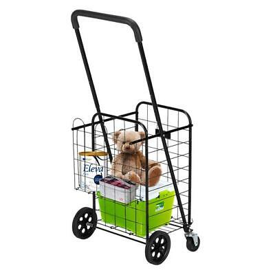 Utility Shopping Cart Foldable Jumbo Basket Grocery Laundry W Wheels
