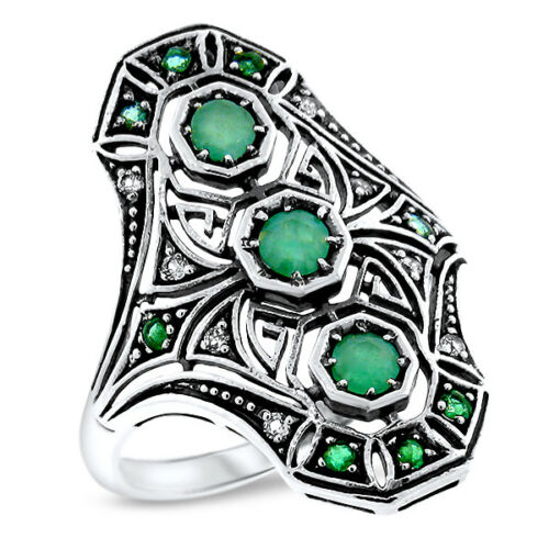 EMERALD & WHITE TOPAZ ART DECO 925 STERLING SILVER ANTIQUE STYLE RING,     #1078