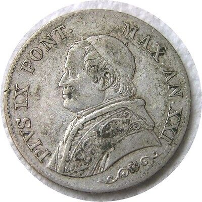 elf Italy Papal States 1 Lira 1866 R Silver   Pope Pius IX
