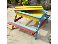 Sand pit box and picnic table for children